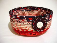 Patriotic Red White and Blue Coiled Fabric Bowl by zizzybob