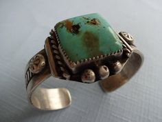 Signed Vintage Navajo Sterling Silver & Turquoise Cuff BRACELET, Square Cabochon