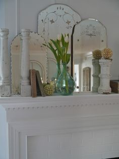 Etched Vintage Mirrors - create an impact when grouped together on the fireplace mantle - via Chateau Chic Old Mirrors, Vintage Mirrors, Vintage Decor, Framed Mirrors, Venetian Mirrors, Etched Mirror, Mirror Mirror, Sunburst Mirror, Mirror House