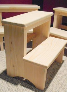 Handcrafted Shaker Inspired Pine Step Stool, Unfinished. $20.00, via Etsy.