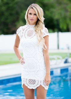 Dress, Short Dress, White Dress, high Neck Dress, Crochet Dress Cap sleeve Dress, Cute, Fashion, online Boutique - Modern Vintage Boutique
