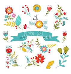 Floral decorative elements vector - by Olillia on VectorStock®