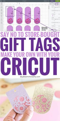 How to Make Gift Tags with your Cricut + Free SVG Templates Hi Daydreamers! Toda… How to Make Gift Tags with your Cricut + Free SVG Templates Hi Daydreamers! Today you are going to learn how to make the most beautiful gift Cricut Cards, Cricut Vinyl, Cricut Air, Cricut Fonts, Make Com Glitter, Free Svg, Cricut Help, Cricut Craft Room, Cricut Explore Air