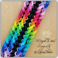 "This design uses a four bar loom with adjustable peg positions.  *Zuzu* New ""Royal Dais"" Rainbow Loom Bracelet/ How To"