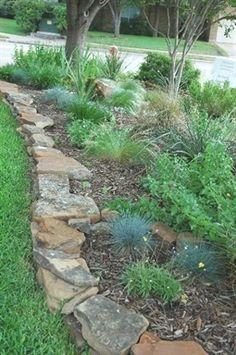 Diy Garden, Garden Cottage, Lawn And Garden, Garden Beds, Rock Garden Borders, Garden Edging Stones, Rock Edging, Rock Border, Stone Edging