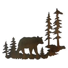 Woodland Bear Metal Wall Art - A Black Forest Decor Exclusive - A bear wanders through the pines in this laser-cut metal wall art in a rust finish. Metal Tree Wall Art, Hanging Wall Art, Metal Art, Wall Hangings, Black Bear Decor, Black Forest Decor, Outdoor Wall Art, Laser Cut Metal, Wood Burning Patterns