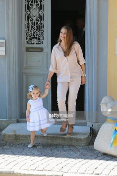 Princess Leonore of Sweden and mother Princess Madeleine of Sweden are seen visiting Gotland Museum on June 3, 2016 in Gotland, Sweden. Duchess Leonore meets her horse Haidi of Gotland for the first time