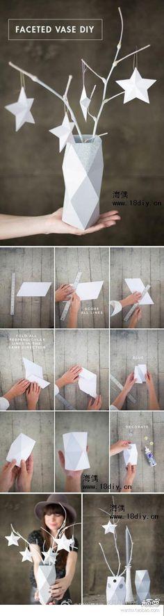 DIY Origami Faceted Vase