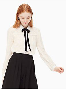 clipped chiffon bow blouse by kate spade new york