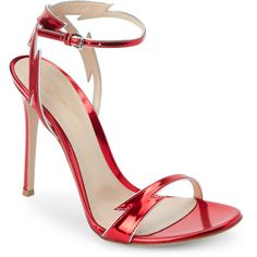 Gianvito Rossi Red Lightning Bolt Two-Piece Sandals (14.605 RUB) ❤ liked on Polyvore featuring shoes, sandals, red, fleece-lined shoes, metallic sandals, gianvito rossi sandals, high heel shoes and metallic high heel sandals