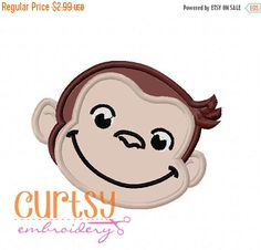ON SALE NOW Curious George Embroidery Design, Curious George Applique Design, Monkey Embroidery Design