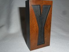 Antique Letterpress Printing Reverse Wood Type Letter Y Nice Patina 4 Inch Tall