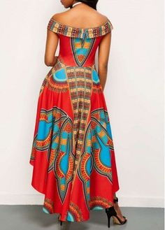 Off the Shoulder High Waist Dashiki Dress African Fashion Designers, African Inspired Fashion, African Print Fashion, Africa Fashion, Long African Dresses, African Print Dresses, African Fashion Dresses, African Attire, African Wear