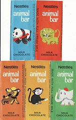 1970s Nestle Animal Bar (First Series) Chocolate Wrappers - New Zealand. not quite a set !, very early 70s . The UK set was issued in 1970.