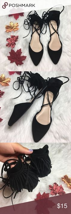 Black flats Size 8.5 new tie up on your leg Wild Diva Shoes Flats & Loafers