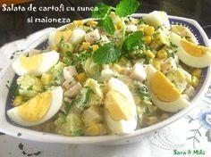 Salata de cartofi cu sunca si maioneza-3-1 Potato Salad, Potatoes, Chicken, Meat, Ethnic Recipes, Food, Salads, Meal, Potato