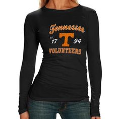 Tennessee Volunteers Ladies Black Long Sleeve Tissue T-shirt