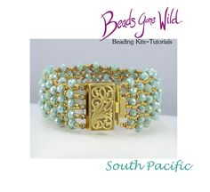 South Pacific Beading Kit Green Opal, South Pacific, Chain Stitch, Bead Weaving, Step By Step Instructions, Seed Beads, Delicate, Sparkle, Beaded Bracelets