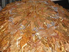Gold Leafy Mardi Gras Faerie Wedding Parasol Fairy Umbrella