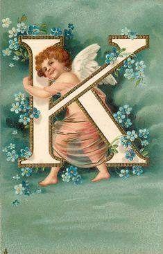 The Letter - K Cupid's Alphabet S Alphabet, Alphabet Cards, Alphabet And Numbers, Chalk Writing, Victorian Angels, Etiquette Vintage, Kobold, Christmas Embroidery Patterns, Vintage Valentine Cards