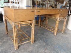 Vintage Rattan Lacquered Desk