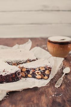 Panforte di Siena: Tuscan dense Christmas cake of hazelnuts, almonds, candied peel, cocoa and honey.