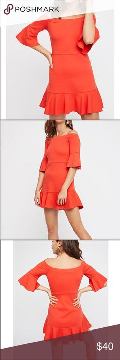 (Free People) Flower Market Mini Dress-NWOT Brand new No Flaws  Easy cotton mini dress featured in an off-the-shoulder silhouette.  Pull-on style Three-quarter length sleeves with a ruffle detail Ruffle hem Unfinished trim  100% Cotton  *I accept offers through the offer button only!  *Always willing to negotiate on pricing 😊   *No trades Free People Dresses Mini