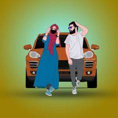 Love Cartoon Couple, Cute Cartoon Pictures, Cute Couple Art, Cute Love Cartoons, Anime Love Couple, Black Love Artwork, Biker Love, Couple Sketch, Cute Muslim Couples