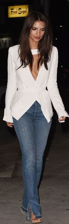 Who made Emily Ratajkowski's sandals, blue slit jeans, and white top?