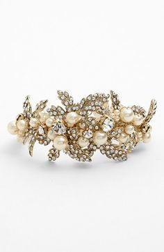 Nina 'Hallie' Faux Pearl & Crystal Bracelet available at #Nordstrom heres a gold and pearl bracelet