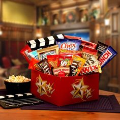 Junk food gift basket fill it with candy and gift cards to dq its a red box night gift box with red box credit 820672 negle Gallery