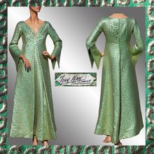 Vintage 1960s French Couture Dress // Green & Gold Brocade Evening Gown // Josy May Paris France