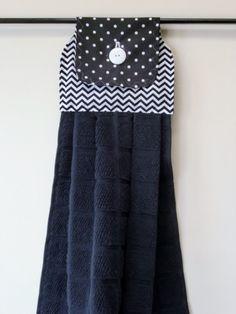 Black Chevron/Polka Dot Hanging Kitchen Towel by divadesigns11, $6.95