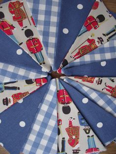 Handmade Bunting with Laura Ashley Blue Gingham and Cath Kidston Guards by BreifneCottage