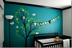 Black, white, and teal nursery! Love this for a boy. And the black baseboards are a nice touch
