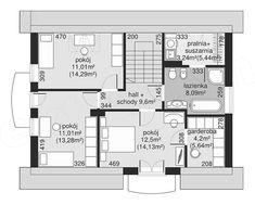 Rzut poddasza projektu Dom przy Alabastrowej 33 100 M2, Floor Plans, Diagram, Design, Houses, Future House, Floor Plan Drawing, House Floor Plans