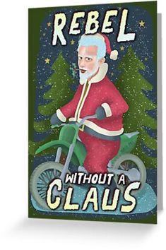 'Funny Ugly Christmas Sweater Santa Claus Motorcycle Rebel' Greeting Card by emkayhess Holiday Puns, Christmas Puns, Funny Christmas Cards, Christmas Wishes, Christmas Greetings, Ugly Christmas Sweater, Funny Santa Jokes, Funny Humor, Xmas Movies