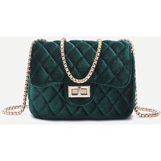 Dark Green Velvet Twistlock Closure Quilted Chain Bag (1.140 RUB) ❤ liked on Polyvore featuring bags, handbags, purses, green, cross-body handbag, quilted cross body purse, green crossbody purse, quilted chain purse and chain-strap handbags