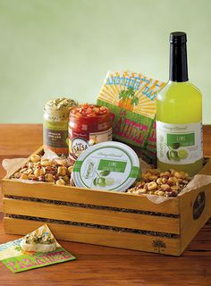 This margarita gift crate comes with lime infused salt for the rim and the perfect snacks like a gourmet nut mix and salsas.