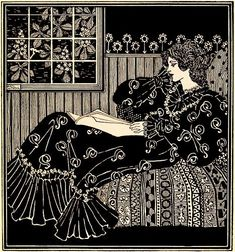 Andrew Kay Womrath. Lady reading. The Savoy, v. 3, London, 1896. Pen and ink.