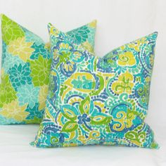 """Blue & green indoor/outdoor throw pillow cover. 18"""" x 18"""". outdoor pillow cover. by JoyWorkshoppe on Etsy https://www.etsy.com/listing/270930578/blue-green-indooroutdoor-throw-pillow"""
