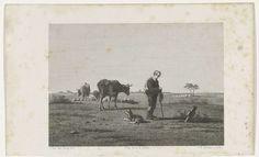Johannes Philippus Lange   Gezicht op een weide, Johannes Philippus Lange, Koenraad Fuhri, 1848   Gezicht op een weide met koeien, op de voorgrond staat een figuur voor een grafsteen.
