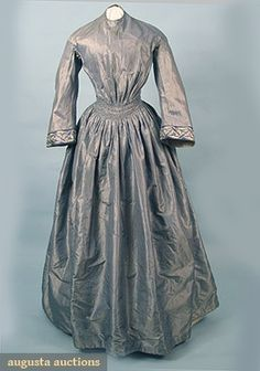"""Day dress, c1840's, silk taffeta one-piece, blue, grey and white pinstripe with modified bell sleeve, blue and white paisley silk sleeve trim, all lined, B 31"""", W 24"""", L 55"""""""