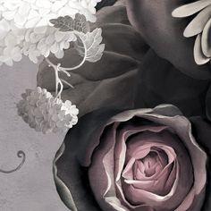 Detail of Dark Floral II Wallpaper in 'Fresco Gray' by Ellie Cashman