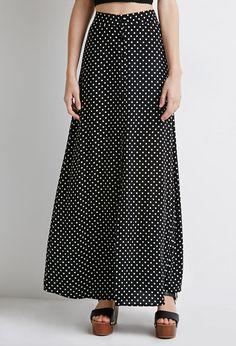 Buttoned Polka Dot Maxi Skirt | Forever 21