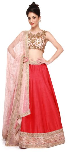 Buy Online from the link below. We ship worldwide (Free Shipping over US$100). Product SKU -  310442 .Product Link -  http://www.kalkifashion.com/pink-lehenga-matched-in-embroidered-blouse-only-on-kalki.html
