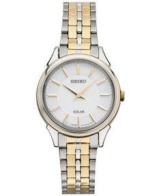 Seiko Women's Solar Slimline Two-Tone Stainless Steel Bracelet Watch 27mm SUP344   macys.com