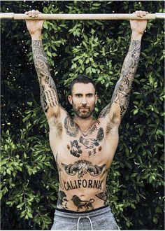 Tattoo ideas for guys music adam levine 59 Ideas Sexy Tattoos, Sleeve Tattoos, Tattoos For Guys, Tatoos, Men Back Tattoos, Small Chest Tattoos, Adam Levine Tattoos, Sexy Tattooed Men, Handpoked Tattoo