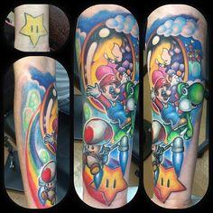 Mario sleeve done by @robbieripoll. #tattoos #ink #sleeve #videogametattoo #gamertattoo #gamerink #gamersleeve #videogames #gamer #gaming #nintendo #nes #supernes #supernintendo #n64 #gamecube #wii #wiiu #mario #yoshi #toad #princesspeach #supermariobros #mariobros