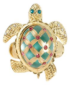 Betsey Johnson Ring, Gold Tone Turtle Stretch Ring -